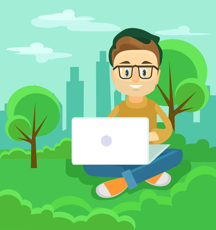 man using computer: Freelancer working outdoor. Vector flat illustration Illustration