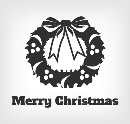 christmas icon: Merry Christmas. Vector black icon  illustration