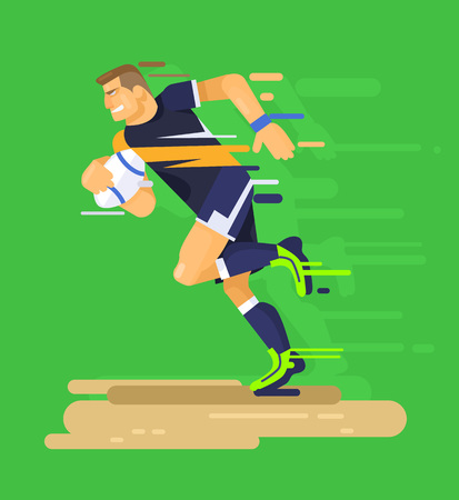 football kick: Rugby player. Vector flat illustration
