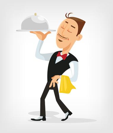 Waiter serving. Vector flat illustration