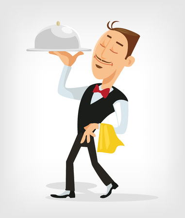 waiter tray: Waiter serving. Vector flat illustration