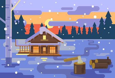 night background: Winter village sunset background. Vector flat illustration