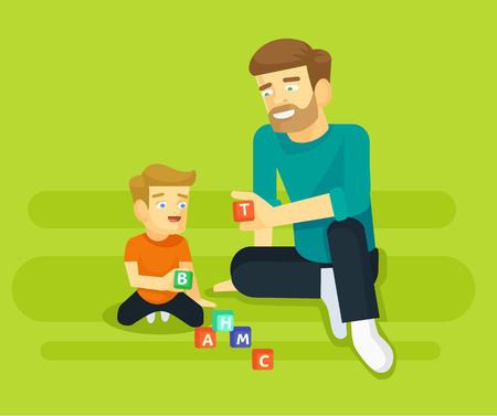 daddy: llustration of father and his young son playing. Vector flat illustration Illustration