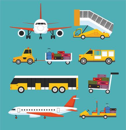 Airport transport vector flat set 일러스트