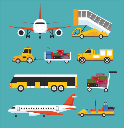 luggage airport: Airport transport vector flat set Illustration