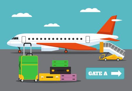 flight: Landing on flight. Vector flat illustration