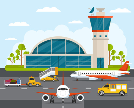 Airport with infographic elements templates. Vector flat illustration Vettoriali