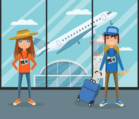 空港ターミナルでの人々。ベクトル フラット漫画イラスト