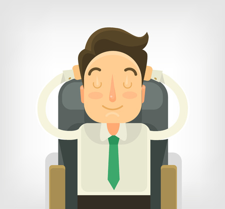sleeping at desk: Sleeping businessman. Vector flat illustration Illustration