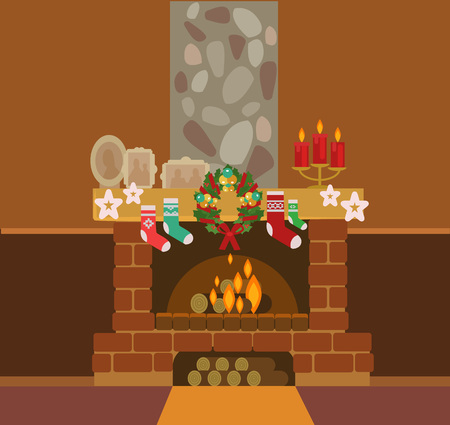 cartoon fireplace: Christmas fireplace and Christmas socks. Vector flat illustration Illustration