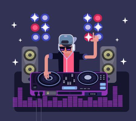soundsystem: DJ vector flat illustration