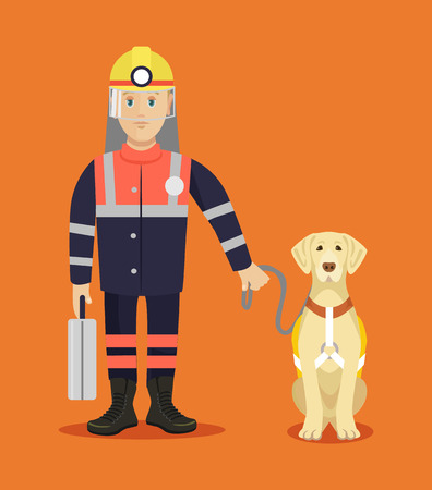 rescuer: Rescuer with dog. Vector flat illustration