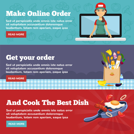 ordering: Online food ordering. Vector flat illustration