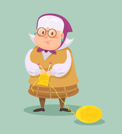 Grandmother knits. Vector flat cartoon illustration Çizim