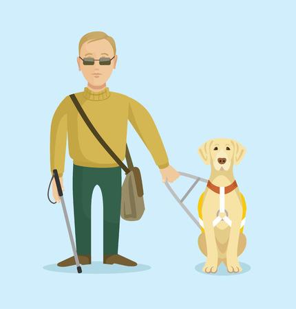 hombre: Ciego con perro guía. Vector ilustración plana