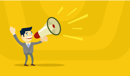Business man speaking through megaphone. Vector flat illustration