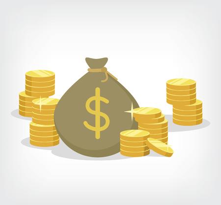 cash money: La bolsa de dinero. Vector ilustraci�n plana Vectores