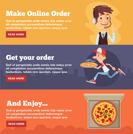 Fast food pizza delivery. Vector flat illustration