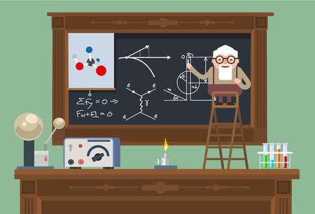 investigador cientifico: Científico viejo profesor. Vector ilustración plana Vectores