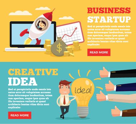 Business startup, creative idea flat illustration concepts set