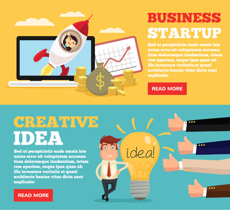 Business startup, creative idea flat illustration concepts set