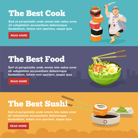korea food: Asian food banners with sushi. Vector flat illustration