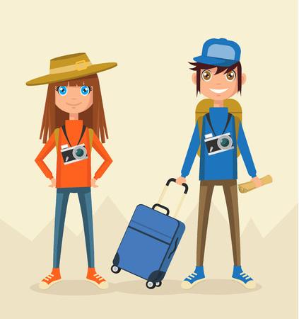 観光客のカップル。ベクトル フラット図