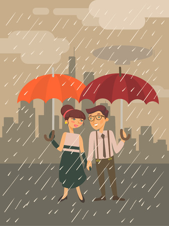 rainy days: Boy and Girl with umbrella. Vector flat illustration
