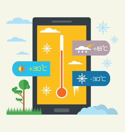 widget: Vector weather widget. Flat illustration