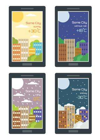 widget: Vector weather widget. Flat illustration