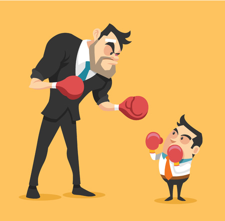 against: Businessman boxing against a giant businessman. Vector flat illustration