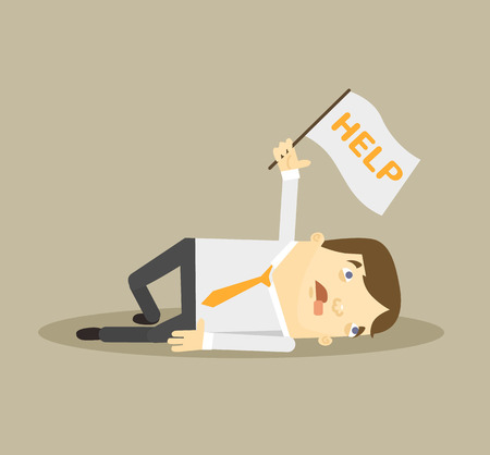 depress: Tired worker. Vector flat illustration