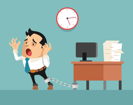 hard bound: Businessman chained to the desk. Vector flat illustration