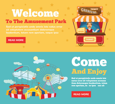 amusement: Public park, amusement park flat illustration concepts set Illustration