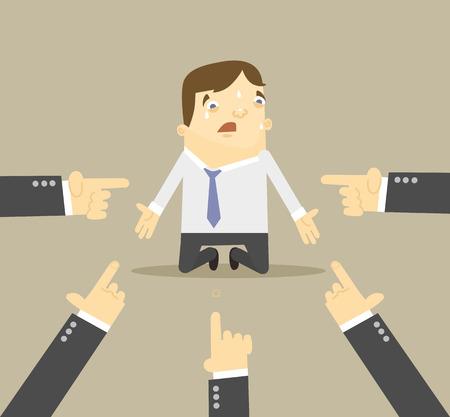 conflicto: Hombre de negocios con las manos apuntando hacia él. Vector ilustración plana