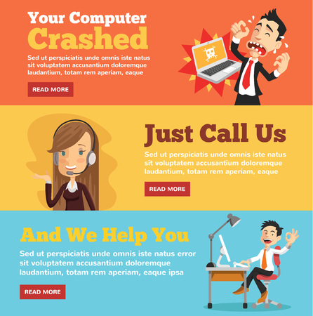 support center: Computer service, computer store flat illustration concepts set Illustration