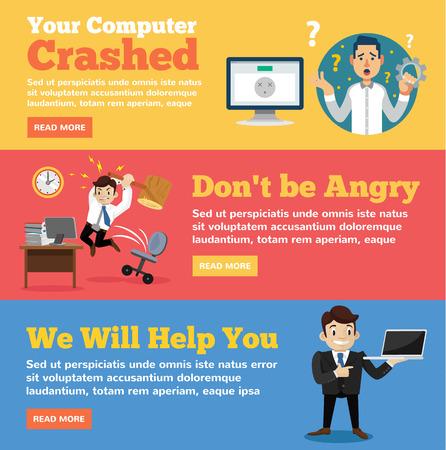 Computer service, computer store flat illustration concepts set Illustration