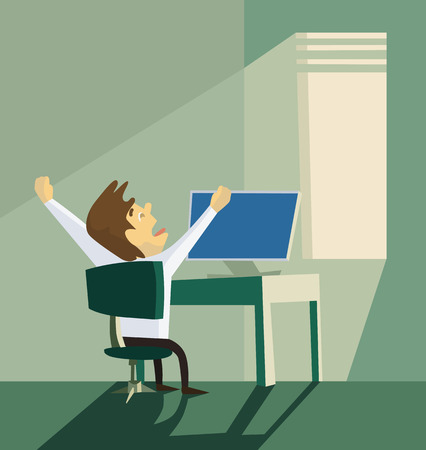 reluctance: Yawning office worker. Monday morning concept. Creative office background. Flat style design vector illustration. Illustration