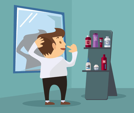 aftershave: Man chooses cosmetics. Vector flat illustration Illustration