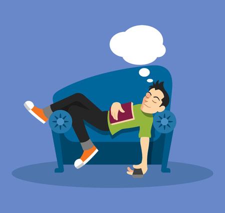 perezoso: Sueño del hombre en el sofá. Vector ilustración plana