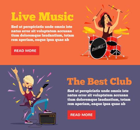 drum set: Rock party poster. Vector flat illustration set Illustration