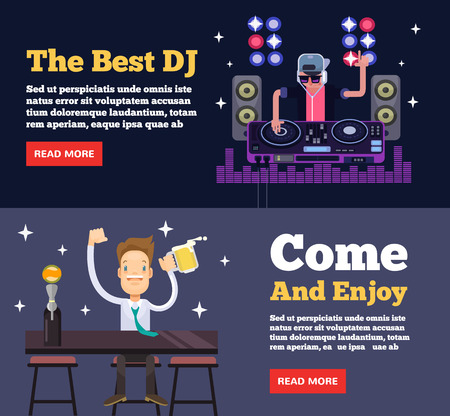 after party: Night club party. Vector flat illustration Illustration