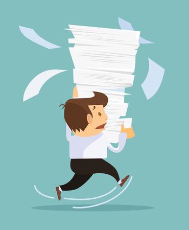 gestion documental: El hombre de negocios la celebración de una gran cantidad de documentos. Vector ilustración plana Vectores