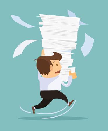 Businessman holding a lot of documents. Vector flat illustration