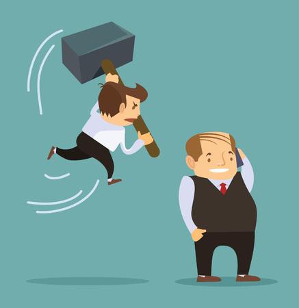 jefe enojado: Empresario de dibujos animados la celebraci�n de un gran mazo listo para matar a jefe. Vector ilustraci�n plana