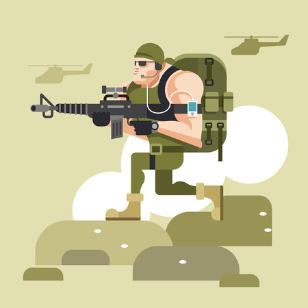 american army: Soldier in camouflage uniform. Vector flat illustration