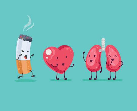 fumando: Deja de fumar. Ilustraci�n vectorial de dibujos animados