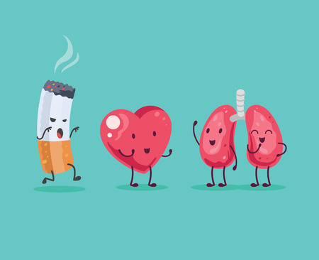 lung bronchus: Stop Smoking. Vector cartoon illustration Illustration