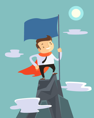 Successful businessman holding flag on top of mountain. Vector flat illustration Иллюстрация