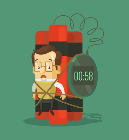 unsuccessful: Businessman with dynamite. Vector flat illustration